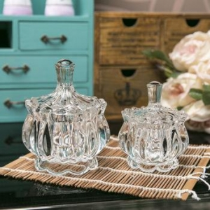 China Crytal clear wedding decorative pumpkin shape jars Christmas Halloween glass candy jar on sale