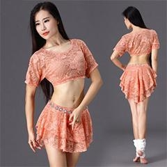 China Latest Lace Belly Dance Practice Costume With Skirt,Sexy Girl Belly Dance Wear on sale