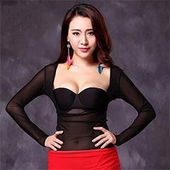 China Sexy Black Belly Dance Practice Top With Long Finger Sleeve,Girl Belly Dance Top on sale