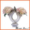 China high-end beautiful white and gold chine bonze poicelain wedding decoration vase with 2 holes for sale
