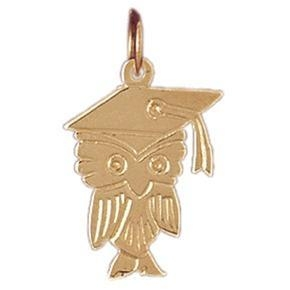 China Dads & Grads Gifts 14K Yellow Gold Eduation Owl Pendant on sale