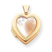 China 14K Polished Heart with Mother of Pearl Inlay Locket on sale