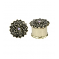 Vintage flower plugs with purple synthetic opal in oxidized gold