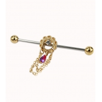 China 316L surgical steel gold flower with three chains and AB red bead industrial barbell on sale