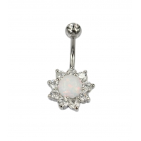 316L surgical steel bar with cubic zirconia charm and synthetic opal, belly button ring