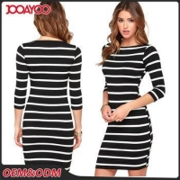 China Latest Design Casual Style Half Sleeve Women Dresses White Black Stripe Lady Fashion Dress on sale
