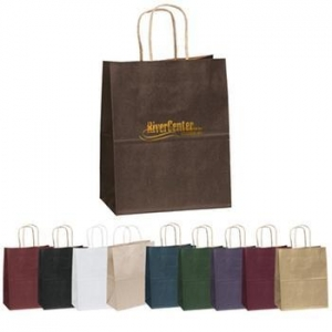 China Matte Finish Promotional Logo Shopping Bag - 7.75w x 9.75h x 4.75d on sale