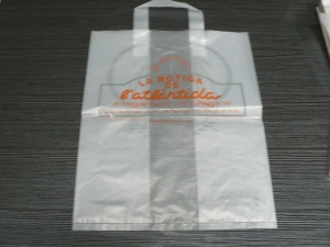 China Side gusset plastic bags for shopping clothes with handle & printing on sale