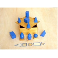 Montessori Materials Wooden Products Geometric Solids - 10 Solids, 5 Bases and 3 Stands in a Box