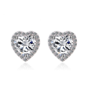 China Heart Shape White Cubic Zirconia Stone Rhodium Plated Stud Earrings on sale