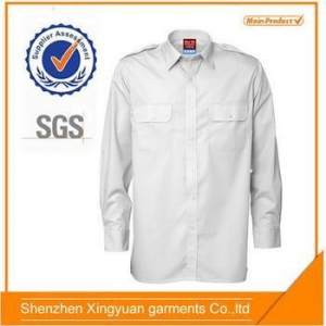 China Shirt Men's White Poly/Cotton Long Sleeve Work Shirts With Epaulet on sale