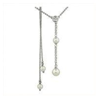 Sterling Silver Necklace with White Swarovski Pearls and White Round and Square CZ on chain