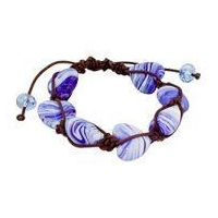 China Heart Shaped Blue and White Murano Glass Beads and Brown String 7 Bead Shamballa Bracelet on sale