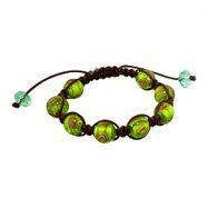 China 11.5mm Green-Brown Murano Glass Beads and Brown String 8 Bead Shamballa Bracelet on sale