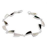 China Sterling Silver Triangles Bracelet with Black-White Mother of Pearl on sale