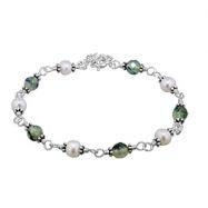 China Sterling Silver Bracelet with Genuine White Pearl and Prehnite Beads on sale