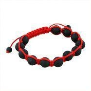 China 10mm Matte Black Onyx Beads and Red String 12 Bead Shamballa Bracelet on sale