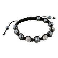China 8mm Hematite and White Disco Ball Beads 11 Bead Shamballa Bracelet with Black String on sale