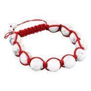 China 12.5mm White Turquiose Beads and Red String 11 Bead Shamballa Bracelet on sale