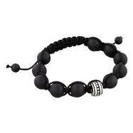 China 11mm Stainless Steel and 10mm Matte Black Onyx Beads 11 Bead Shamballa Bracelet with Black String on sale