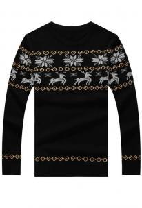 China Men's Sweater Black Snowflake & Reindeer Christmas Fashion Mens Sweater on sale