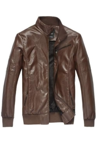 China Men's Jackets Brown Fluff Lining Leather Jacket on sale