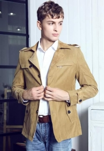 China Men's Jackets Khaki Casual Slim Fit British Style Wind Coat Jacket on sale
