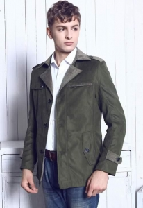 China Men's Jackets Army Green Casual Slim Fit British Style Wind Coat Jacket on sale