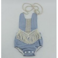 Fashion baby girl romper design personalized newborn baby linen sunsuit with tassel