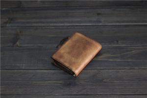 China Custom handmade vintage leather bifold wallet on sale