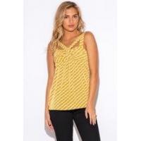 Tops trendy woman yellow chevron print cut out party bulk tank top