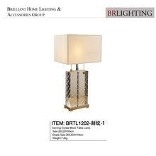 China Carving crystal block table lamp with lampshade BRTL1202-1 on sale
