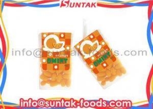 China Orange Coated Organic Sugar Free Candy , Colorful Mint Candies Oval Shape on sale