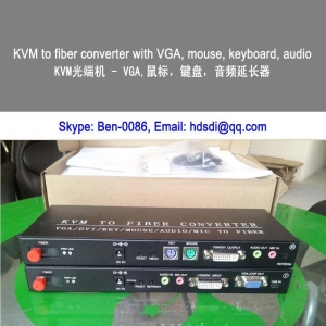China KVM Extender via fiber VGA DVI key board mouse audio extender on sale