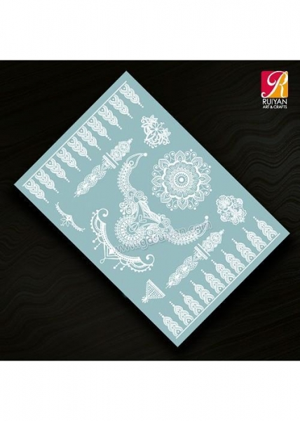 China White Lace Temporary Tattoo L001