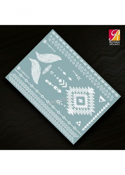 China White Henna Temproary Tattoo Sticker L022