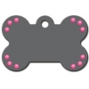 China Large Bone Tag Grey w/ Pink Stones for sale