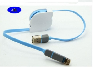 China Portable 2 In1 Mobile Phone USB Cable Retractable , Cell Phone Data Cable on sale