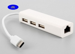 China USB 3.1 Type C Cable To 3 Port Network Hub With RJ45 Lan Adapter Ethernet on sale