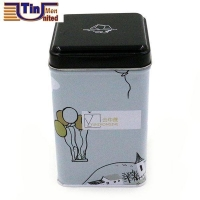 Middle Square Sealed Bottom Tea Coffee Tea Biscuit Embossing Lid Tin Box