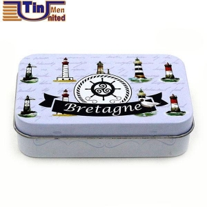 China Small Rectangular Disposable Soap Cigar Candy Mint Canned Food Hinged Lid Tin Can on sale