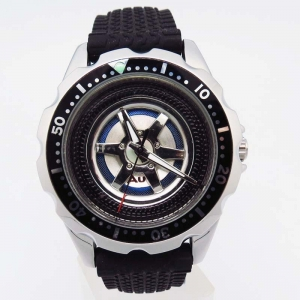 China Fashion watch tyre style rubber band wrist watch japan movt watch stainless steel black on sale