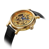 Gold skeleton automatic mechanical watch