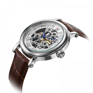 China Sliver skeleton automatic mechanical watch on sale