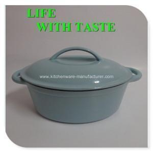 China Large Oval Enamel Cast Iron Dutch Oven on sale