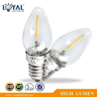 High lumen IP20 glass cover e14 1w led cob filament car bulb