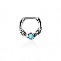 316L Surgical Steel Synthetic Opal Vintage Septum Clicker