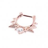 Rose Gold Plated Septum Clicker Made For Royalty Retro Triangle