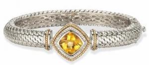 China Heavy Citrine and Diamond Bangle Bracelet on sale