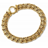 China 14k Gold Leslies Italian Woven Bracelet with Large Spring Ring Clasp on sale